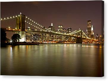Brooklyn Bridge At Night 10 Canvas Print by Val Black Russian Tourchin
