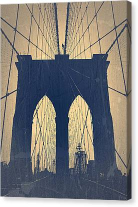Brooklyn Bridge Blue Canvas Print by Naxart Studio