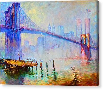 Brooklyn Bridge In A Foggy Morning Canvas Print by Ylli Haruni
