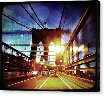 Brooklyn Bridge Night View Canvas Print by Joann Vitali