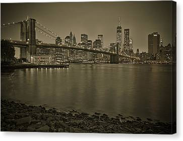 Brooklyn Bridge Nyc Skyline Sepia Canvas Print by Susan Candelario
