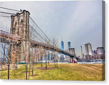 Brooklyn Bridge Park In Winter Canvas Print by Randy Aveille