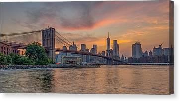 Brooklyn Bridge Summer Sunset Canvas Print by Scott McGuire