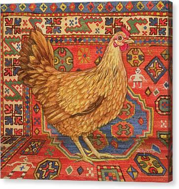 Brown Carpet Chicken Canvas Print by Ditz