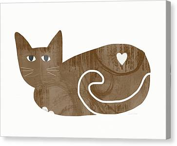 Brown Cat- Art By Linda Woods Canvas Print by Linda Woods