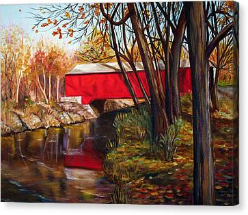 Brown County Bridge Canvas Print by Dorothy Riley