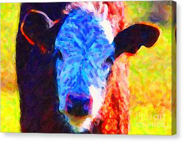 Brown Cow . Painterly Canvas Print by Wingsdomain Art and Photography
