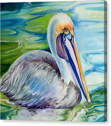 Brown Pelican Of Louisiana Canvas Print by Marcia Baldwin