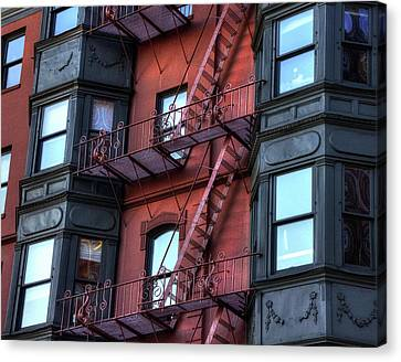 Brownstone With Iron Fire Escapes - Boston Canvas Print by Joann Vitali
