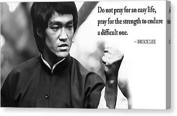 Bruce Lee On Enduring Life's Challenges Canvas Print by Daniel Hagerman
