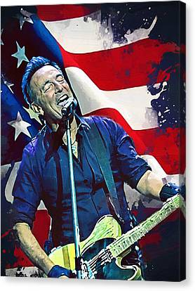 Bruce Springsteen Canvas Print by Afterdarkness