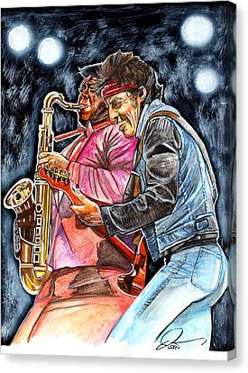 Bruce Springsteen And Clarence Clemons Canvas Print by Dave Olsen