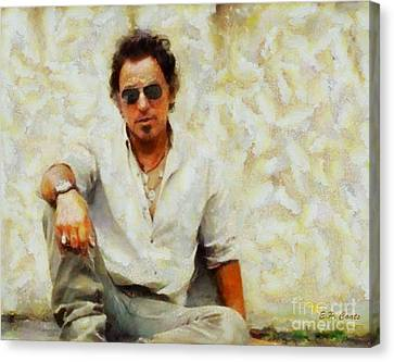 Bruce Springsteen Canvas Print by Elizabeth Coats