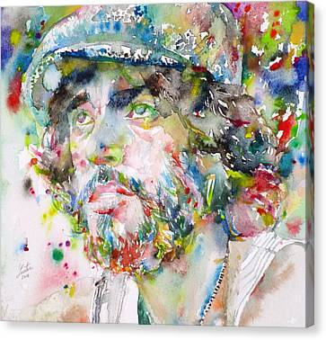 Bruce Springsteen - Watercolor Portrait.3 Canvas Print by Fabrizio Cassetta