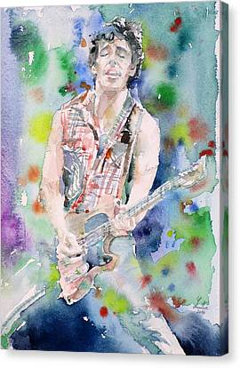 Bruce Springsteen - Watercolor Portrait.4 Canvas Print by Fabrizio Cassetta