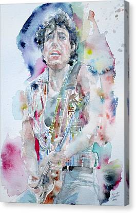 Bruce Springsteen - Watercolor Portrait.5 Canvas Print by Fabrizio Cassetta
