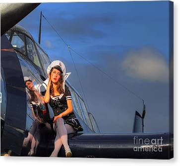 Brunette Navy Girl Canvas Print by Jimmy Ostgard