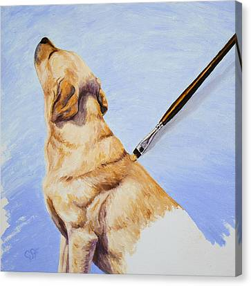 Brushing The Dog Canvas Print by Crista Forest