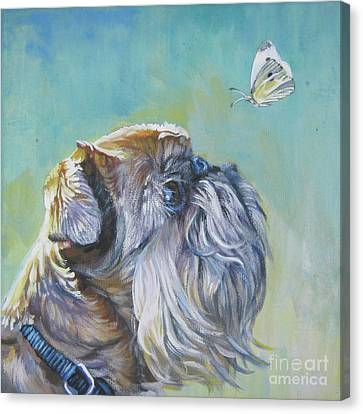 Brussels Griffon With Butterfly Canvas Print by Lee Ann Shepard