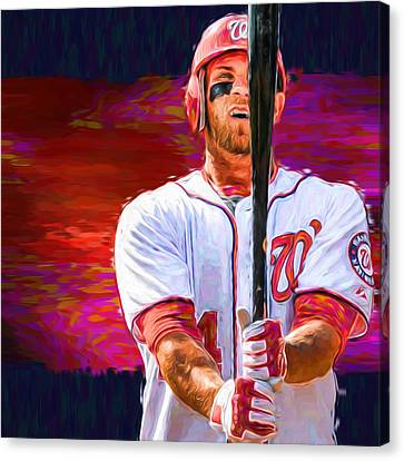 Bryce Harper Mlb Washington Nationals Baseball Painted Digitally Canvas Print by David Haskett