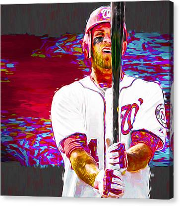 Bryce Harper Washington Nationals Mlb Baseball Painting Digital Canvas Print by David Haskett