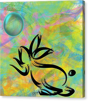 Bubbly Rabbit Canvas Print by Oiyee At Oystudio