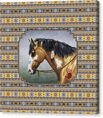 Buckskin Native American War Horse Southwest Canvas Print by Crista Forest