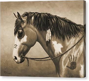 Buckskin War Horse In Sepia Canvas Print by Crista Forest