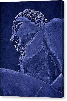 Buddha At The Golden Triangle - Blue Sketch Canvas Print by Fini Gamundi