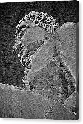 Buddha At The Golden Triangle - Grey Sketch Canvas Print by Fini Gamundi