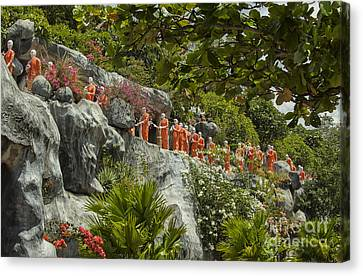 Buddha Statues In Dambula Canvas Print by Patricia Hofmeester