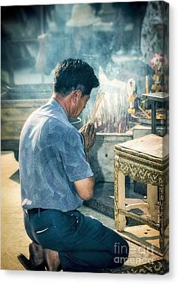 Buddhist Way Of Praying Canvas Print by Heiko Koehrer-Wagner