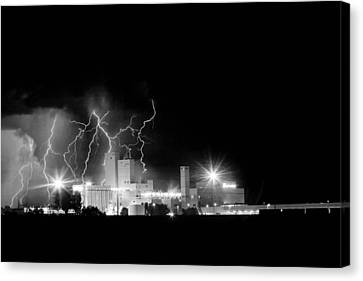 Budweiser Lightning Thunderstorm Moving Out Bw Canvas Print by James BO  Insogna