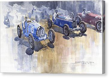 Bugatti 51 Alfa Romeo 8c 1933 Monaco Gp Canvas Print by Yuriy  Shevchuk