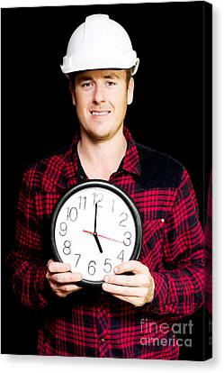 Builder With Clock Showing Home Time Canvas Print by Jorgo Photography - Wall Art Gallery