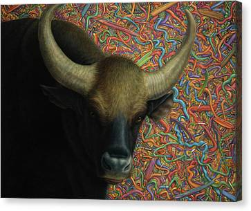 Bull In A Plastic Shop Canvas Print by James W Johnson