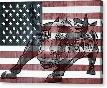 Bull Market Barn Wall Canvas Print by Dan Sproul