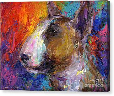 Bull Terrier Dog Painting Canvas Print by Svetlana Novikova