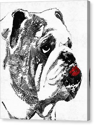 Bulldog Pop Art - How Bout A Kiss 2 - By Sharon Cummings Canvas Print by Sharon Cummings