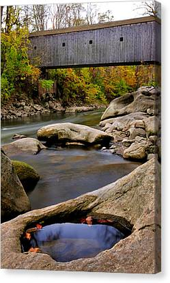 Bulls Bridge - Autumn Scene Canvas Print by Thomas Schoeller