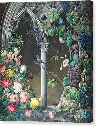 Bunches Of Roses Ipomoea And Grapevines Canvas Print by Eugene Joseph Prevost