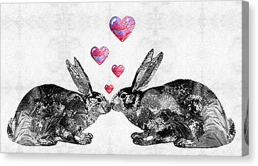 Romance Canvas Print featuring the painting Bunny Rabbit Art - Hopped Up On Love 2 - By Sharon Cummings by Sharon Cummings