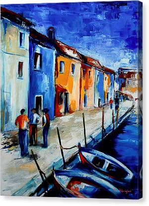 Burano Conversation Canvas Print by Elise Palmigiani