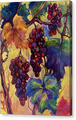 Burgundy Grapes Canvas Print by Peggy Wilson