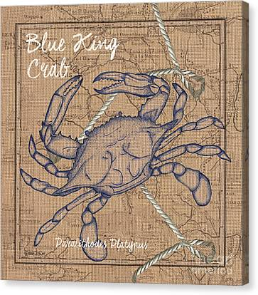 Burlap Blue Crab Canvas Print by Debbie DeWitt
