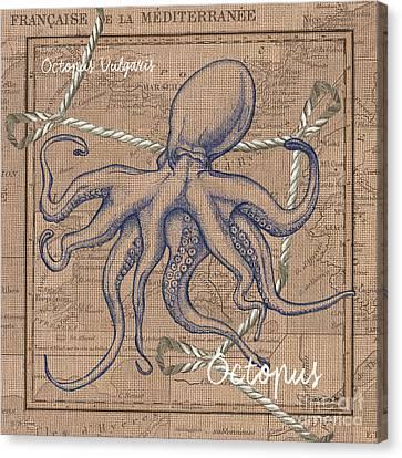 Burlap Octopus Canvas Print by Debbie DeWitt