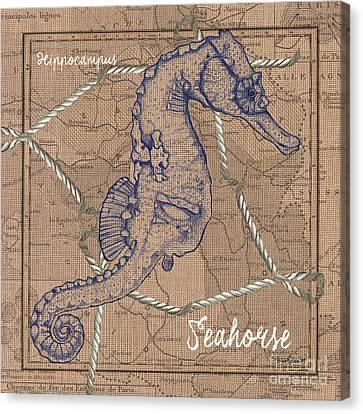 Burlap Seahorse Canvas Print by Debbie DeWitt