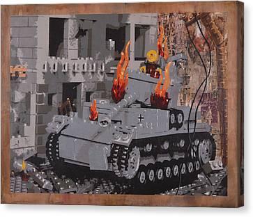 Burning Panzer Iv Canvas Print by Josh Bernstein