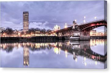 Burnside Bridge Waterfront Portland Oregon Canvas Print by Dustin K Ryan