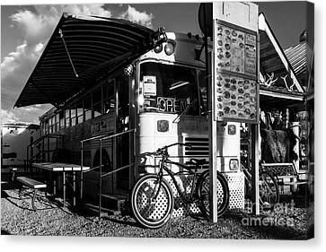 Burrito Bus Bw Canvas Print by Mel Steinhauer
